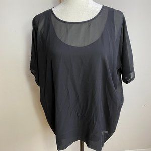 Eileen Fisher NEW black sheer top Small silk boxy